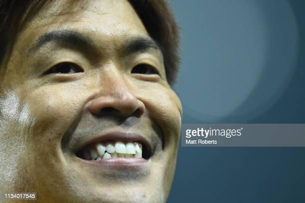 Goalkeeper Shusaku Nishikawa of Urawa Red Diamonds smiles during the AFC Champions League Group G match between Urawa Red Diamonds and Buriram United...