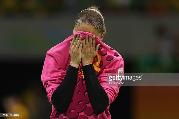 Goalkeeper Silvia Gimenez Navarro of Spain looks dejected after loosing the Womens Quarterfinal match between Spain and France on Day 11 of the Rio...
