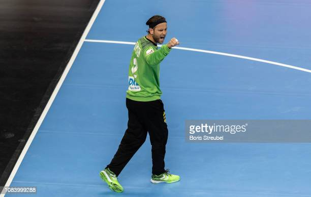 Goalkeeper Silvio Heinevetter of Germany celebrates during the 26th IHF Men's World Championship group A match between Germany and Serbia at...