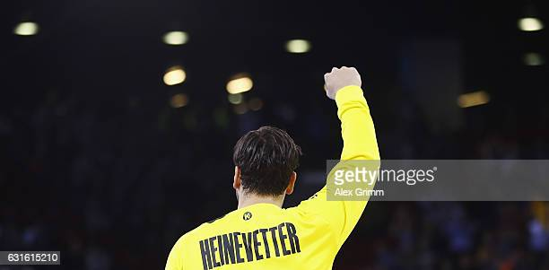 Goalkeeper Silvio Heinevetter of Germany reacts after a save during the 25th IHF Men's World Championship 2017 match between Germany and Hungary at...