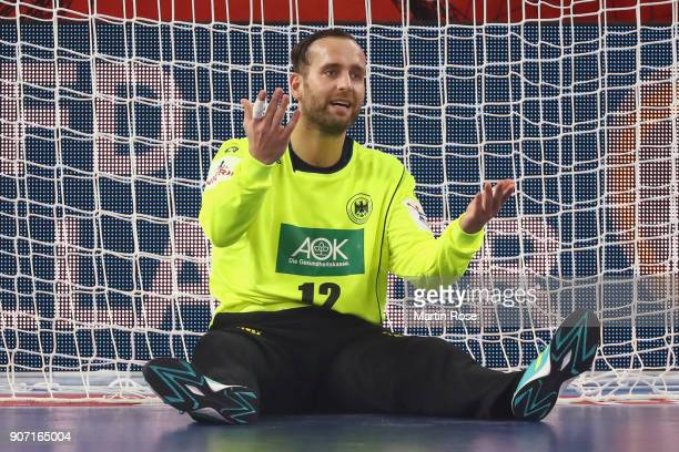 Goalkeeper Silvio Heinevetter of Germany reacts during the Men's Handball European Championship main round group 2 match between Germany and Czech...