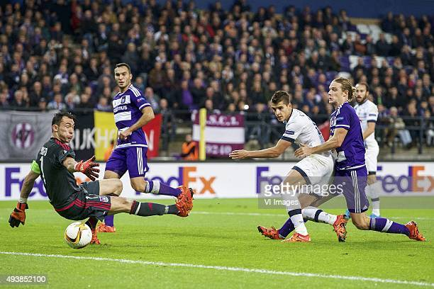 Goalkeeper Silvio Proto of RSC Anderlecht, Ivan Obradovic of RSC Anderlecht, Erik Lamela of Tottenham Hotspur FC, Guillaume Gillet of RSC Anderlecht...