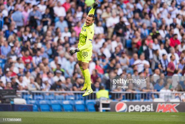 Goalkeeper Simon Mignolet of Club Brugge celebrates after his team's first goal during the UEFA Champions League group A match between Real Madrid...