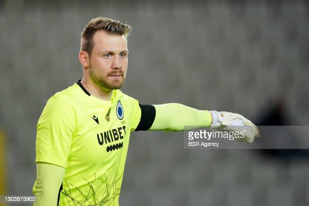 Goalkeeper Simon Mignolet of Club Brugge during the Jupiler Pro League match between Club Brugge and OH Leuven at Jan Breydelstadion on February 22,...