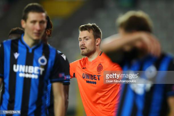 Goalkeeper, Simon Mignolet of Club Brugge KV in action during the UEFA Champions League Group F stage match between Club Brugge KV and Borussia...