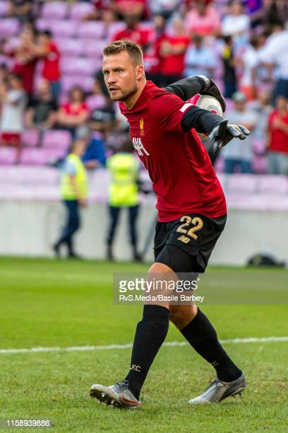 Goalkeeper Simon Mignolet of Liverpool FC warms up during the Pre-Season Friendly match between Liverpool FC and Olympique Lyonnais at Stade de...