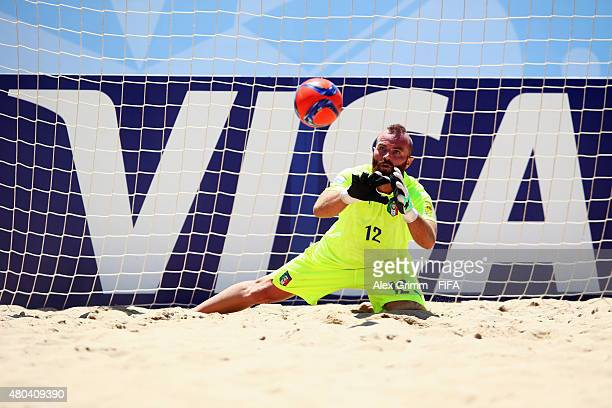 Goalkeeper Simone del Mestre of Italy makes a save during the FIFA Beach Soccer World Cup Portugal 2015 Group B match between Oman and Italy at...