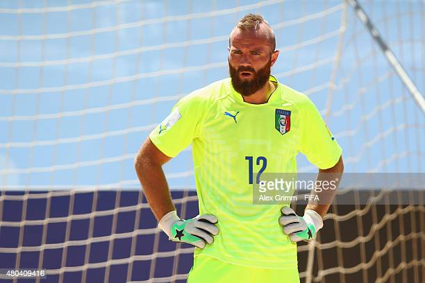 Goalkeeper Simone del Mestre of Italy reacts during the FIFA Beach Soccer World Cup Portugal 2015 Group B match between Oman and Italy at Espinho...