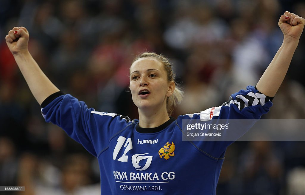 Goalkeeper Sonja Barjakratovic of Montenegro celebrate victory against Serbia after the Women's European Handball Championship 2012 semifinal match between Serbia and Montenegro at Arena Hall on December 15, 2012 in Belgrade, Serbia.