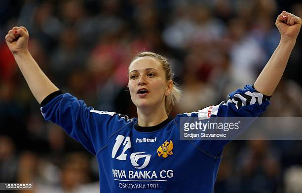 Goalkeeper Sonja Barjakratovic of Montenegro celebrate victory against Serbia after the Women's European Handball Championship 2012 semifinal match...