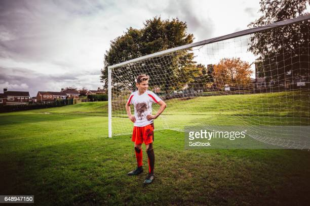 Goalkeeper standing in his Net