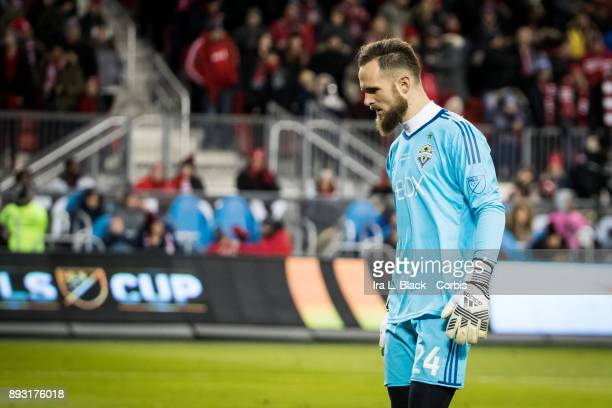 Goalkeeper Stefan Frei of Seattle Sounders shows his intensity during the 2017 Audi MLS Championship Cup match between Toronto FC and Seattle...