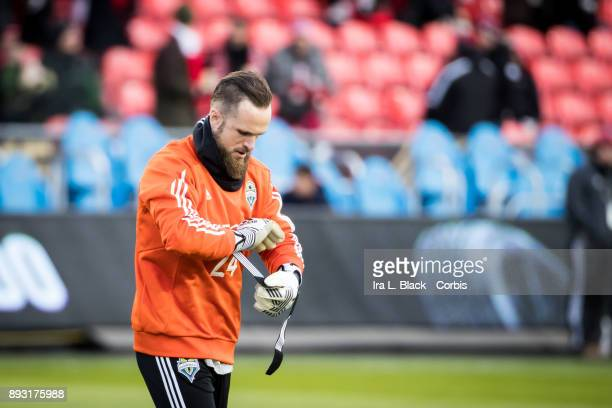Goalkeeper Stefan Frei of Seattle Sounders warms up during the 2017 Audi MLS Championship Cup match between Toronto FC and Seattle Sounders FC at BMO...