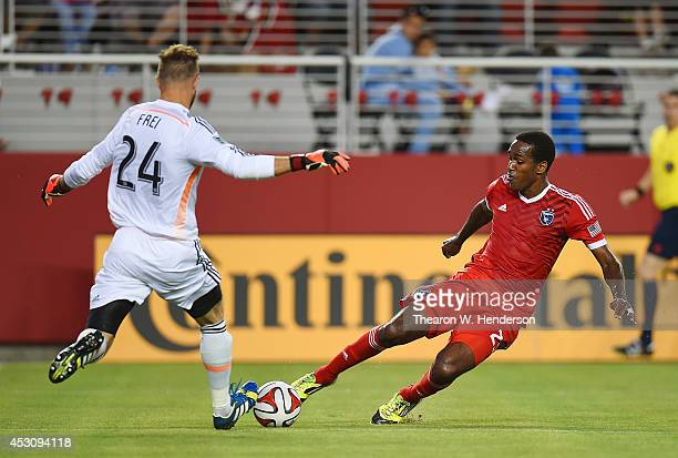Goalkeeper Stefan Frei of the Seattle Sounders FC blocks the shot of Atiba Harris of the San Jose Earthquakes during the first half of the MLS Soccer...