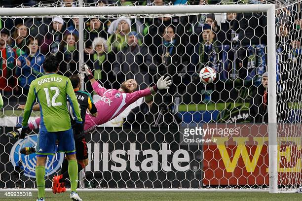 Goalkeeper Stefan Frei of the Seattle Sounders FC defends a shot against the Los Angeles Galaxy during the Western Conference Final at CenturyLink...