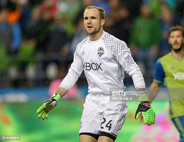 Goalkeeper Stefan Frei of the Seattle Sounders FC looks on during the match against Sporting Kansas City at CenturyLink Field on March 6 2016 in...