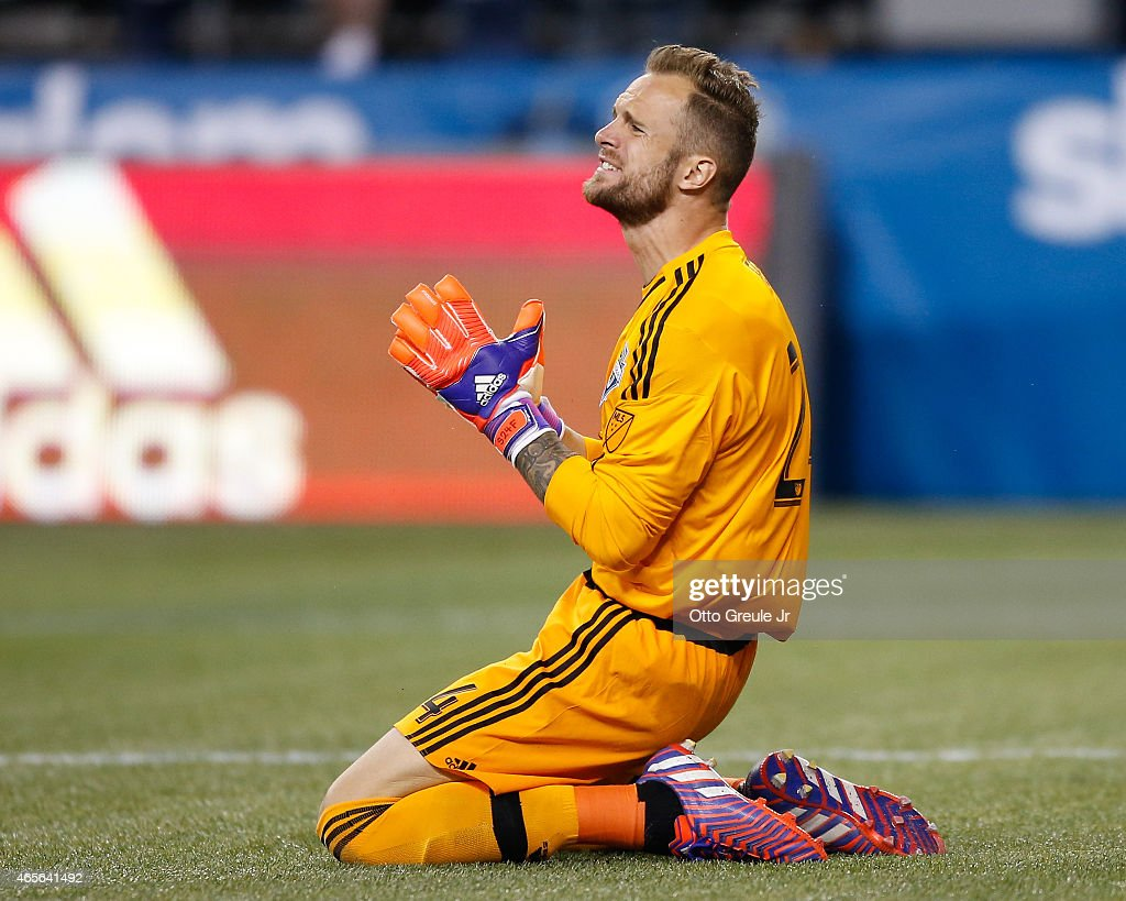 Goalkeeper Stefan Frei #24 of the Seattle Sounders FC reacts during the match against the New England Revolution at CenturyLink Field on March 8, 2015 in Seattle, Washington. The Sounders defeated the Revolution 3-0.