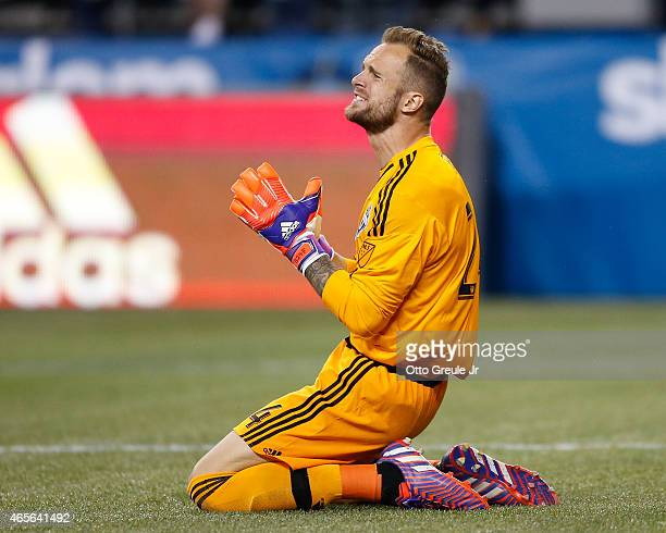 Goalkeeper Stefan Frei of the Seattle Sounders FC reacts during the match against the New England Revolution at CenturyLink Field on March 8 2015 in...