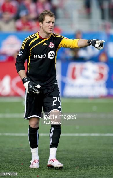 Goalkeeper Stefan Frei of the Toronto FC follows the play during the match against the Kansas City Wizards at BMO Field on April 26 2009 in Toronto...