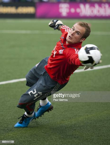 Goalkeeper Stefan Frei of the Toronto FC warms up prior to the match against the Puerto Rico Islanders at BMO Field on July 29 2009 in Toronto Canada...