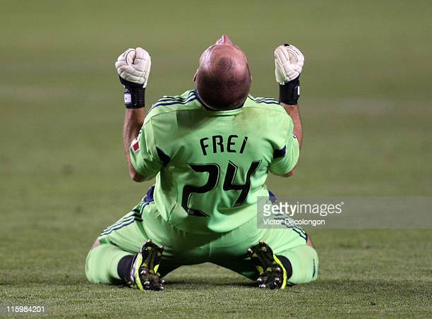 Goalkeeper Stefan Frei of Toronto FC reacts after teammate Alan Gordon scored a second half extra time goal against the Los Angeles Galaxy to tie the...