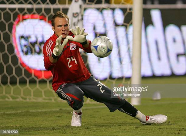 Goalkeeper Stefan Frei of Toronto FC warms up prior to the MLS match against the Los Angeles Galaxy at The Home Depot Center on September 19 2009 in...