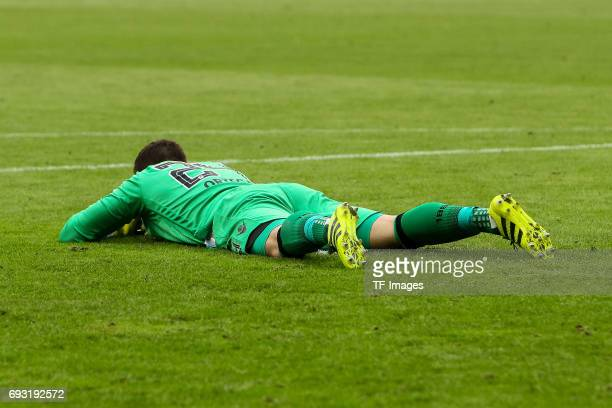 Goalkeeper Stefan Ortega of 1860 Munich looks dejected during the Second Bundesliga Playoff second leg match between TSV 1860 Muenchen and Jahn...