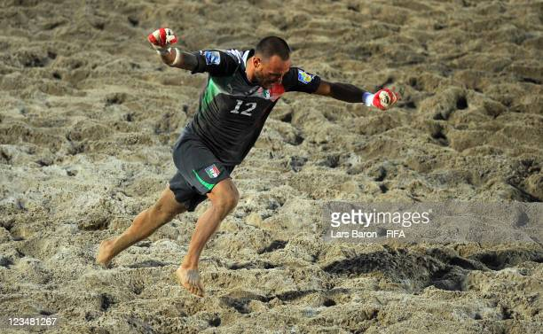Goalkeeper Stefano Spada celebrates after winning the FIFA Beach Soccer World Cup Group A match between Senegal and Italy at Stadium del Mare on...