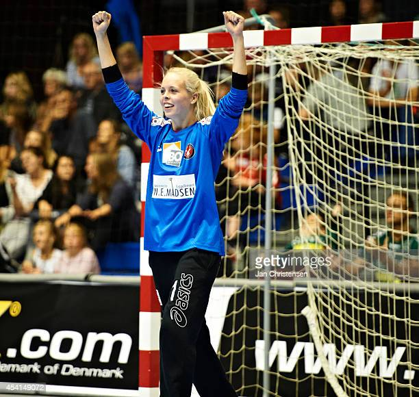 Goalkeeper Stephanie Andersen of FC Midtjylland celebrate after goal during the Super Cup Final between Viborg HK and FC Midtjylland in Gigantium on...