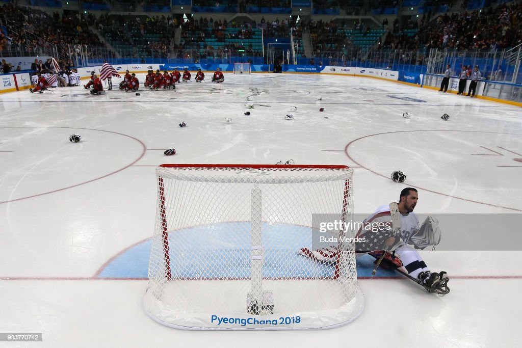 Goalkeeper Steve Cash of the United States celebrates winning the gold medal over Canada in the Ice Hockey gold medal game between United States and Canada during day nine of the PyeongChang 2018 Paralympic Games on March 18, 2018 in Gangneung, South Korea.