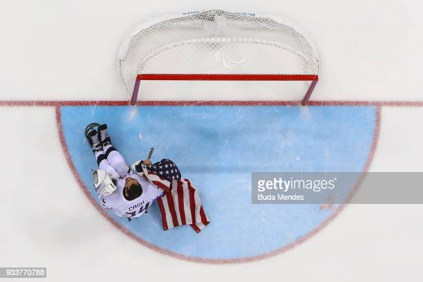 Goalkeeper Steve Cash of the United States celebrates winning the gold medal over Canada in the Ice Hockey gold medal game between United States and...