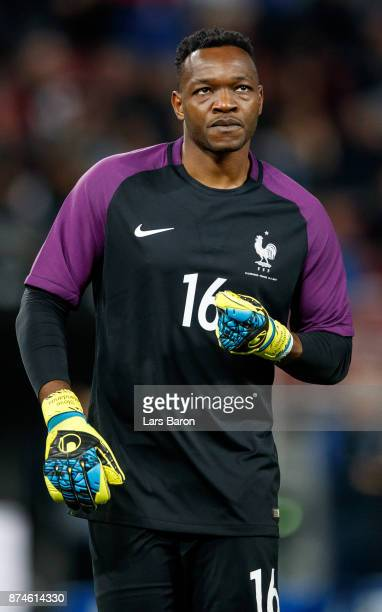 Goalkeeper Steve Mandanda of France is seen during the international friendly match between Germany and France at RheinEnergieStadion on November 14...