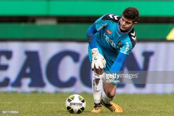 goalkeeper Stijn van Gassel of Helmond Sport during the Jupiler League match between Fortuna Sittard and Helmond Sport at the Fortuna Sittard Stadium...