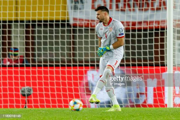 Goalkeeper Stole Dimitrievski of North Macedonia controls the ball during the UEFA Euro 2020 Qualifier between Austria and North Macedonia on...