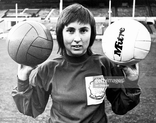 Goalkeeper Sue Buckett of the England women's football team, at a training session at Wembley, London, 15th November 1972. England are due to play...