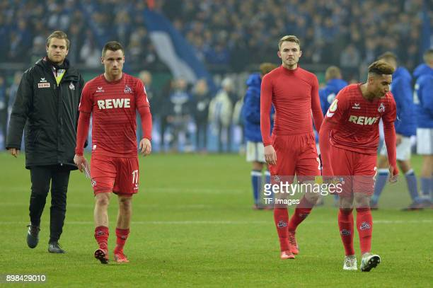 Goalkeeper Sven Mueller of Koeln Christian Clemens of Koeln Jannes Horn of Koeln and Kevin Goden of Koeln look dejected after the Bundesliga match...