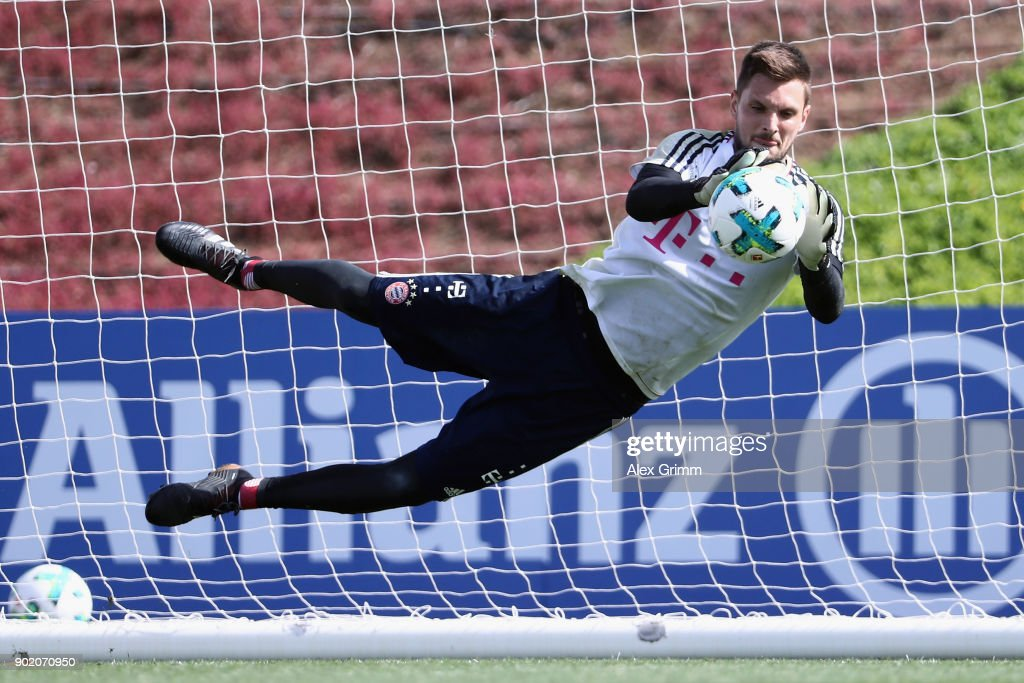 Goalkeeper Sven Ulreich makes a save during a training session on day 6 of the FC Bayern Muenchen training camp at ASPIRE Academy for Sports Excellence on January 7, 2018 in Doha, Qatar.