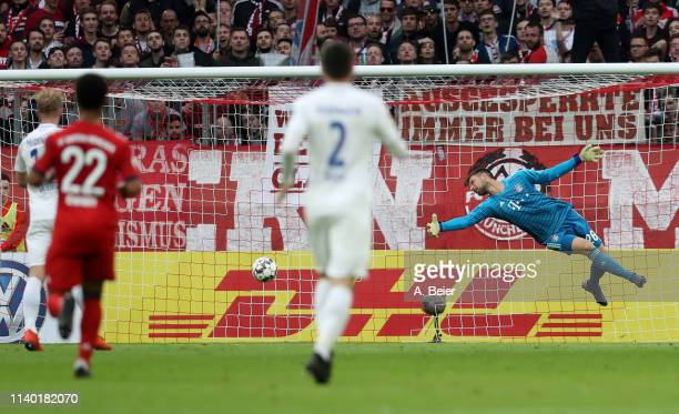Goalkeeper Sven Ulreich of FC Bayern Muenchen misses to save a goal of 1. FC Heidenheim during the DFB Cup quarter final match between FC Bayern...