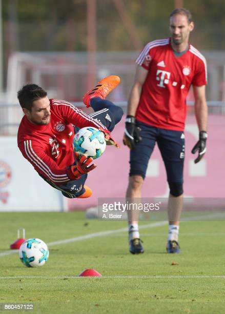 Goalkeeper Sven Ulreich of FC Bayern Muenchen practices next to his goalkeeper teammate Tom Starke during a training session at the Saebener Strasse...