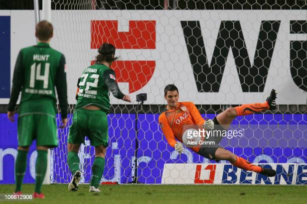 Goalkeeper Sven Ulreich of Stuttgart saves a penalty of Torsten Frings of Bremen during the Bundesliga match between VfB Stuttgart and SV Werder...