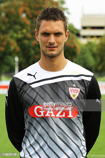 Goalkeeper Sven Ulreich poses during the VfB Stuttgart team presentation at Stuttgart's training ground on July 14 2011 in Stuttgart Germany