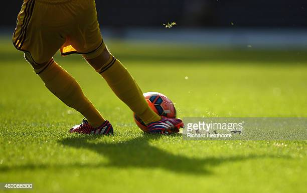 A goalkeeper takes a goal kick during the FA Cup Fourth Round match between Blackburn Rovers and Swansea City at Ewood park on January 24 2015 in...