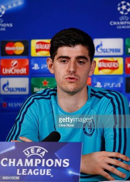 Goalkeeper Thibault Courtois of Chelsea speaks to the media during a press conference at the Chelsea Training Ground on December 8 2015 in Cobham...