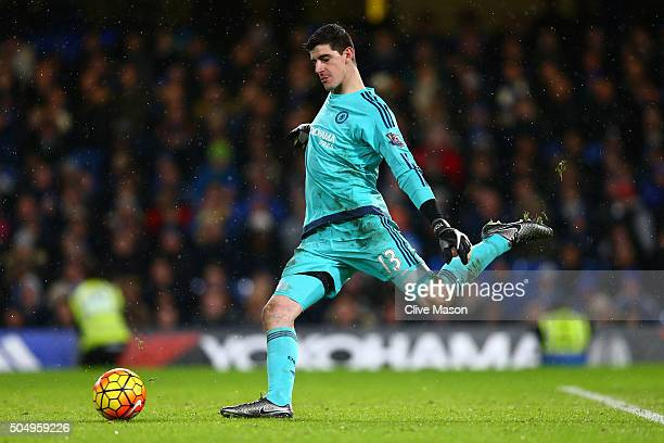 Goalkeeper Thibault Courtois of Chelsea takes a goal kick during the Barclays Premier League match between Chelsea and West Bromwich Albion at...