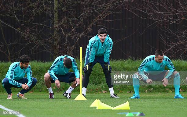 Goalkeeper Thibault Courtois warms up during the Chelsea training session at the Chelsea Training Ground on December 8 2015 in Cobham England
