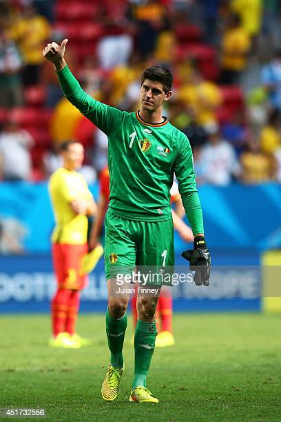 Goalkeeper Thibaut Courtois of Belgium acknowleges the fans after a 10 defeat to Argentina in the 2014 FIFA World Cup Brazil Quarter Final match...