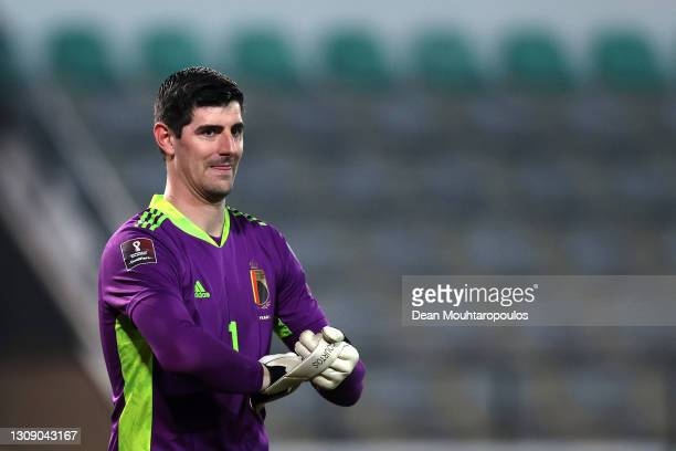 Goalkeeper, Thibaut Courtois of Belgium in action during the FIFA World Cup 2022 Qatar qualifying match between Belgium and Wales at King Power at...