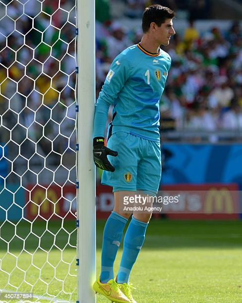 Goalkeeper Thibaut Courtois of Belgium is seen during the 2014 FIFA World Cup Group H soccer match between Belgium and Algeria at the Mineirao...