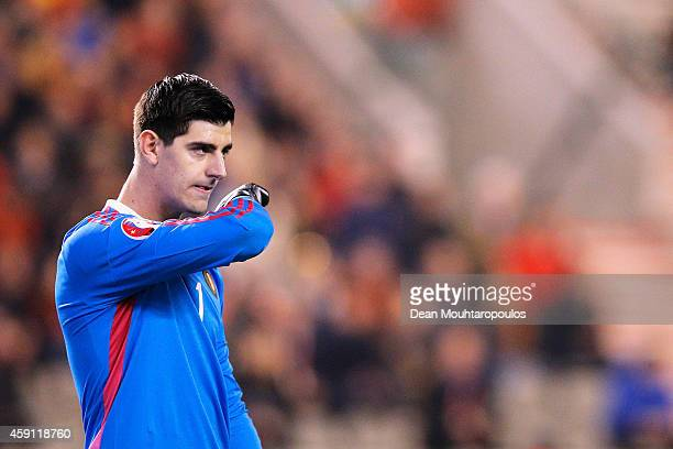 Goalkeeper Thibaut Courtois of Belgium looks on during the Group B UEFA European Championship 2016 Qualifier match bewteen Belgium and Wales at King...