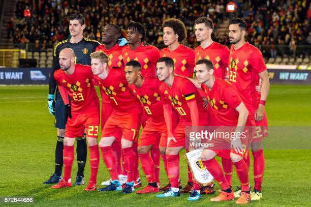goalkeeper Thibaut Courtois of Belgium Romelu Lukaku of Belgium Dedryck Boyata of Belgium Axel Witsel of Belgium Thomas Meunier of Belgium Nacer...